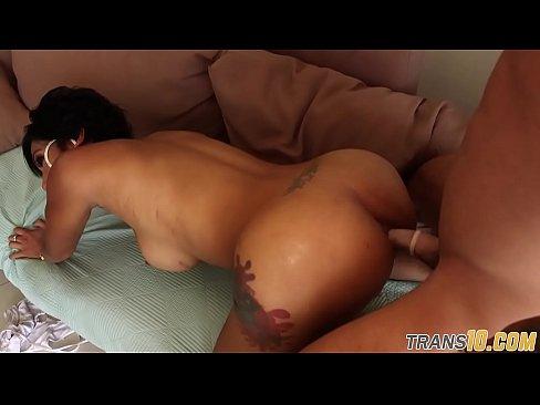 Shemale Luna Trap Footjob and Cum Ass