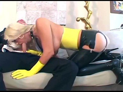 And garters stockings blonde
