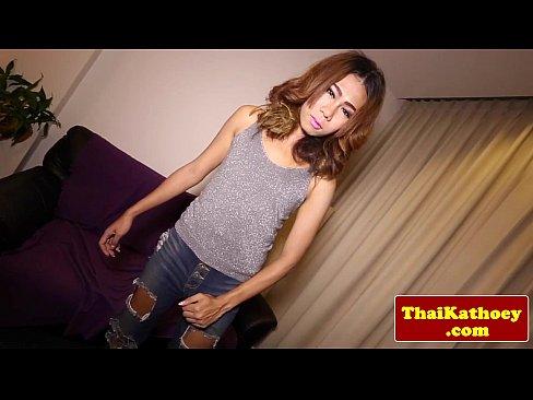 Petite thai ladyboy in jeans jerking off's Thumb