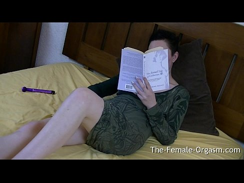 Horny furry milf reads book for masturbation fantasies