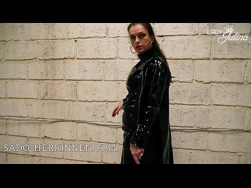 Shiny PVC Mistress Lady Julina POV jerk off instruction for high heels licking slave