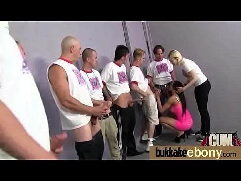 Hot ebony Extreme gang bang and CUM FEEDING 14
