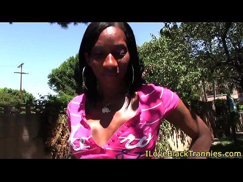 Ebony tgirl plays with herself until she cums