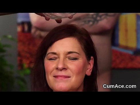 Sexy sex kitten gets sperm shot on her face sucking all the spermXXX Sex Videos 3gp
