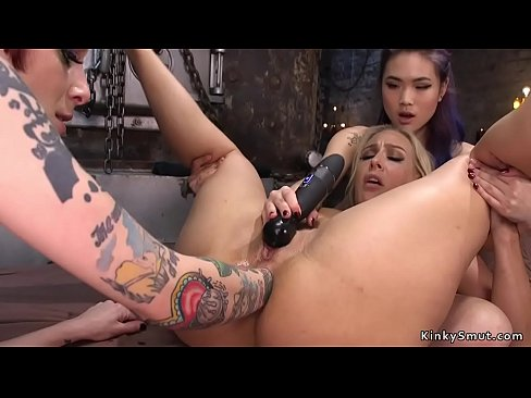 Lesbians anal fisted in dungeon