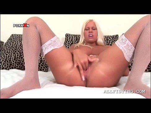 pussy Blonde finger fucking her