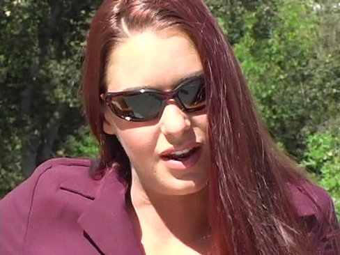 Victoria Red Teases in a Purple Suit and Tan Pantyhose Part 1