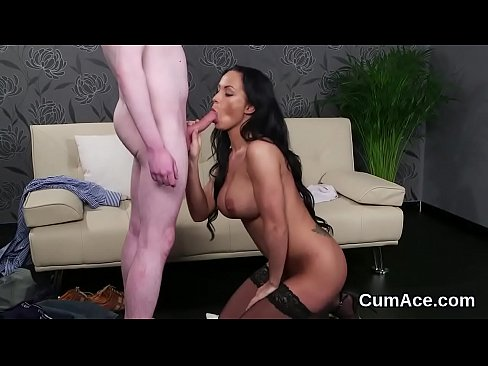 Horny doll gets cumshot on her face swallowing all the juice