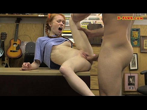 Skinny redhead drilled by nasty pawn guy in his pawnshop