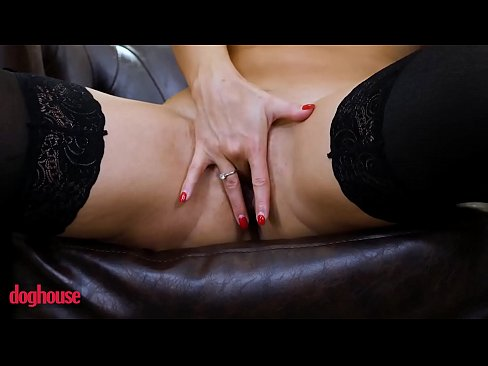 Brunette Euro babe in stockings takes big tits and gets creampied - Doghouse