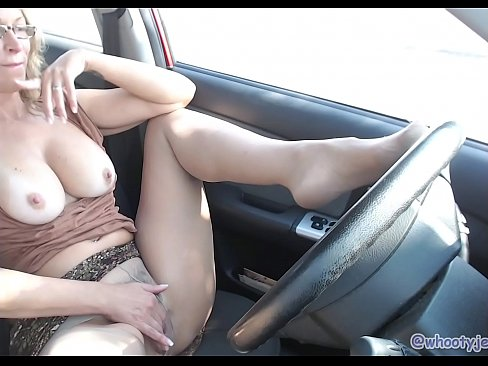 Horny Mom Masturbates In Parked Car While Husband Watches