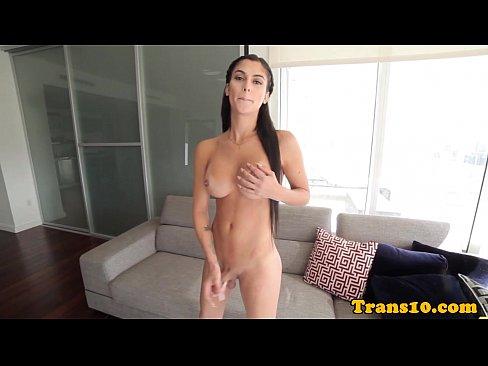 Stunning transsexual pleasuring herself