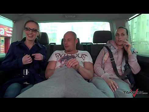 Takevan Happy secretary convinced to fuck with strangers in driving van