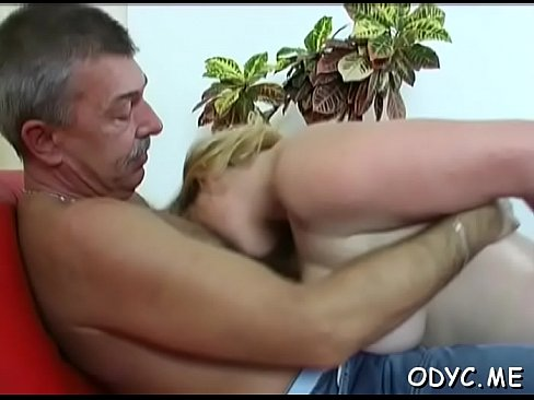 old lad gets treated nicely by a much younger slut