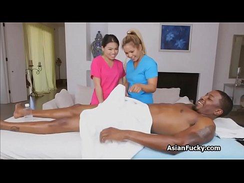 Asian masseuse on big black dick