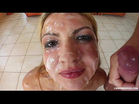 Michaela – Cum For Cover blowbang bukkake scene with many facials