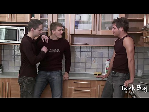 Twink lad media pissing twink kitchen trio