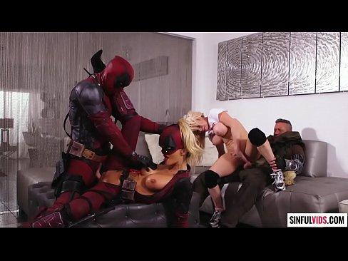 Jessica Drake and Nikki Delano nasty foursome fuck in Deadpool XXX - An Axel Braun Parody Scene 5