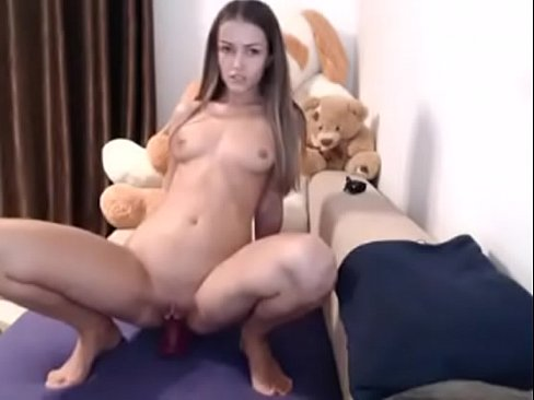 Horny college teen dildo fuck pussy