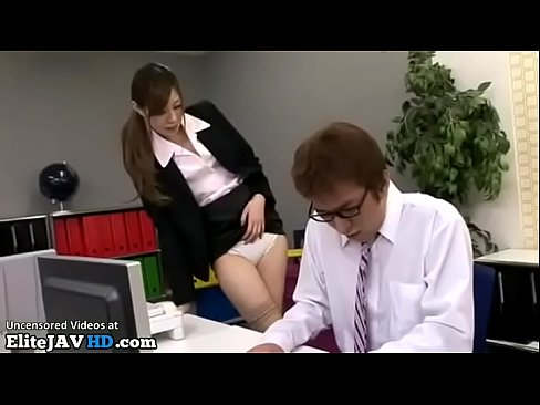 Japanese secretary in stockings provokes office guy