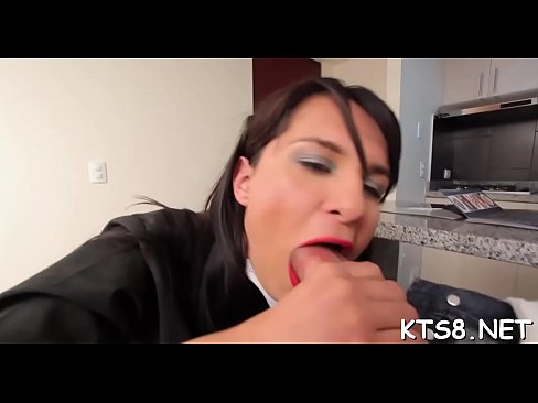 Kinky shemale bounces on cock with her butt and jerks off cock