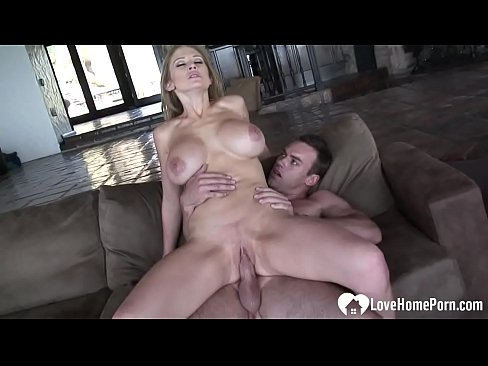 busty blonde enjoys riding his erect donger