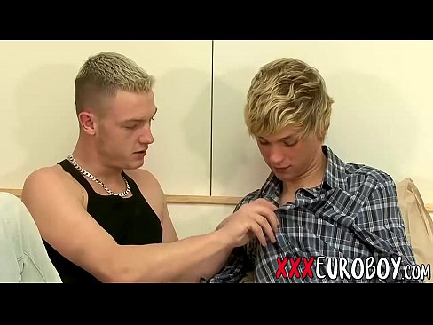 horny blonde twink gay lovers hot blowjob and anal fuck