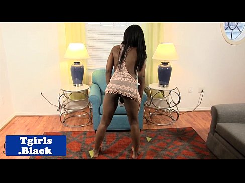 Nubian tgirl wanking to pleasure herself