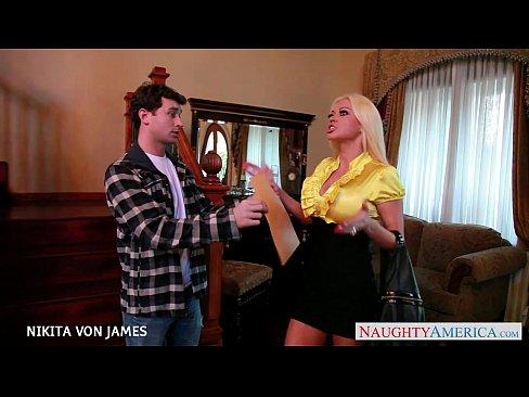Salacious blonde Nikita Von James ride a big cock