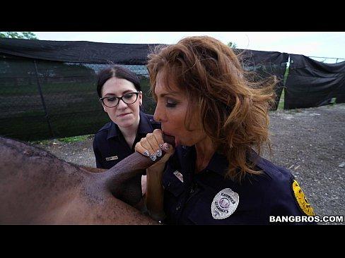 Busty Female Officers Arresting Suspect Big Black Cock