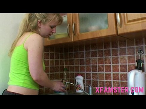 Anal sex with young amateur stepdaughter in kitchen fuck deep in butt till cum