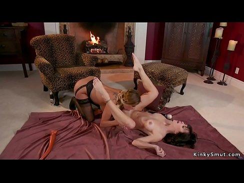Huge tits blonde lesbian anal fucks gf
