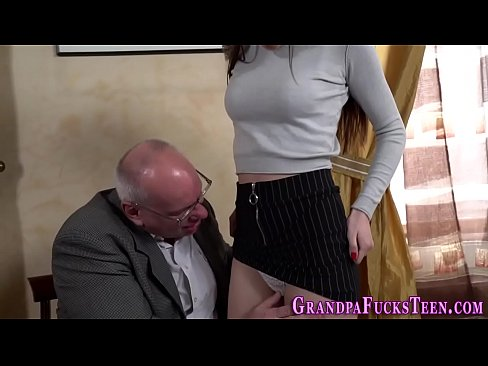 Teen rides gramps dick and gives head