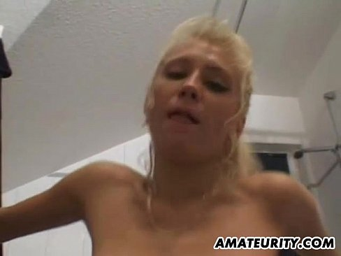 busty amateur girlfriend sucks and fucks in the bathroom