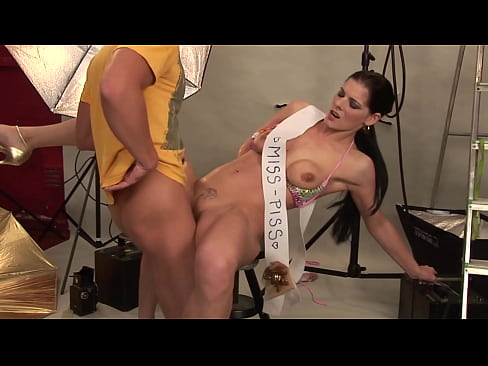 Gorgeous ever-eager MILF gets pissed in her mouth to excite the photographer's cock