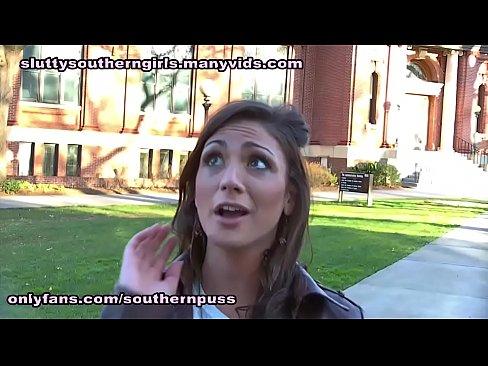 Vanessa Sixxx sucks a black cock on campus