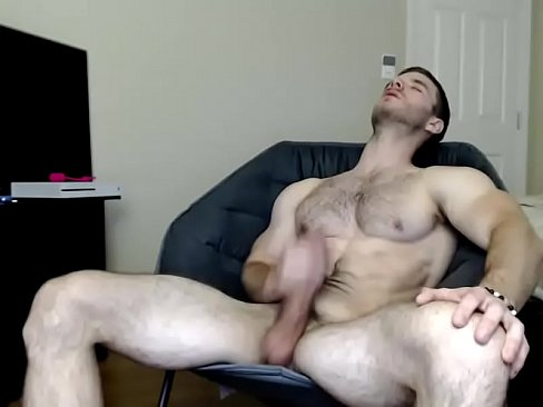 Hot Hairy Muscle Hunk Jerking Off