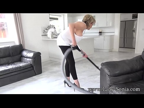 Big tit mature Lady Sonia cleaning and nipple torture's Thumb