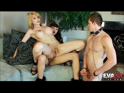 Eva Lin and Venus fuck their submissive slaveboy