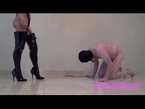 Hard whipping by hot blonde mistress