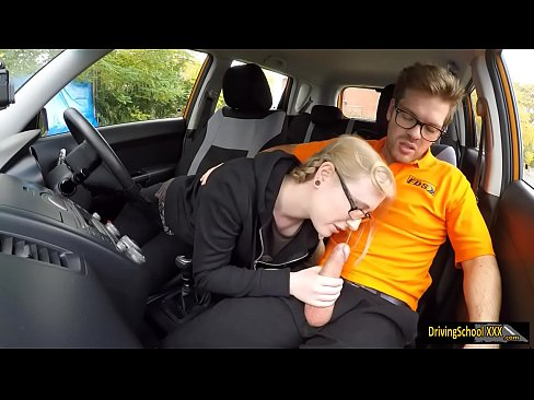 Blond teen Satin Spank banged in the car
