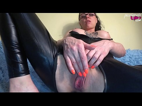 Slut in Latex Suit Passionate Masturbate Pussy after Party