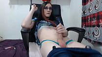 Shemale In Jeans Jerks Her Juicy Cock