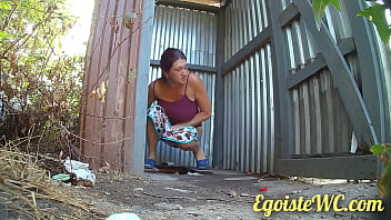 NEW! Beautiful pissing in a rural toilet in the fresh air. 66秒