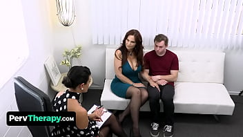 Horny Teen Boy Bangs His Big Titted Stepmom And The Hot Milf Doctor On A Private Therapy Session