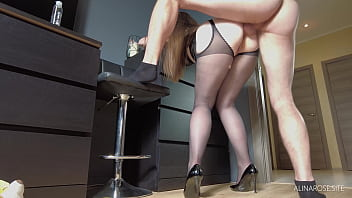 Wife In Pantyhose Gives Anal Before Go To Work - Creampie